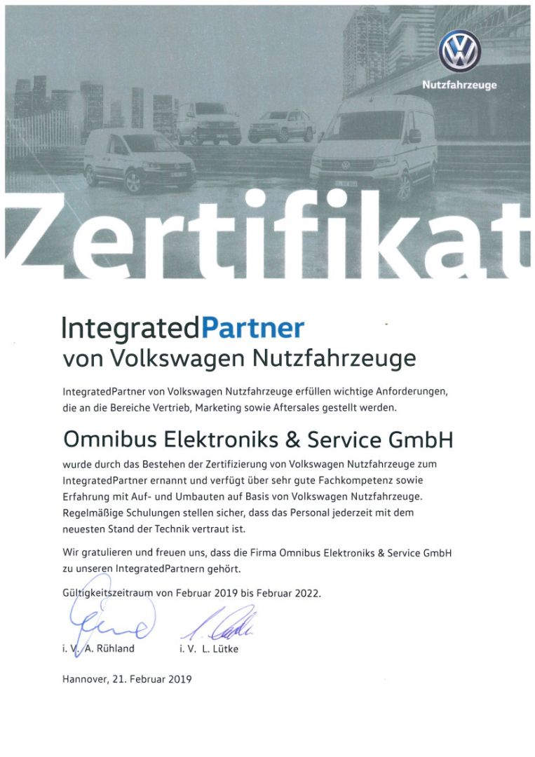 Zertifikat VW NFZ Integrated Partner